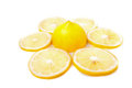 Yellow lemons slice and on a white background Stock Images