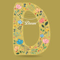 Yellow Letter D with Floral Decor and Necklace