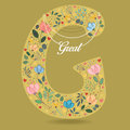 Yellow Letter G with Floral Decor and Necklace