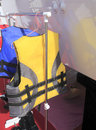 Yellow life jacket china xiamen international boat show Royalty Free Stock Image