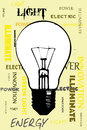 Yellow light black and white bulb on a background with different statements Royalty Free Stock Photo