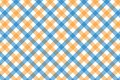 Yellow and Light Blue Gingham pattern. Texture from rhombus/squares for - plaid, tablecloths, clothes, shirts, dresses, paper,
