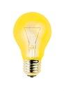 Yellow light bulb isolated on white background Royalty Free Stock Photo