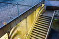 Yellow light on stair in the night abstract architecture Royalty Free Stock Photo