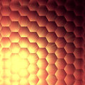 Yellow lights in violet hexagons background Royalty Free Stock Photos