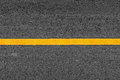 Yellow line on asphalt texture road background with grainy Royalty Free Stock Photo