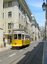 Yellow Lisbon tram Royalty Free Stock Photo