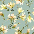 Yellow magnolia flowers on a twig on light green background. Seamless pattern. Watercolor painting. Hand drawn and colored.