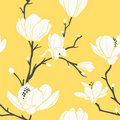 Yellow magnolia pattern Royalty Free Stock Photo
