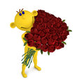 Yellow man with the bouquet of roses d illustration to valentine s day Stock Photo