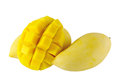 Yellow mango on white isolated background Stock Photos