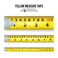 Yellow Measure Tape Vector. Centimeter And Inch. Measure Tool Equipment Illustration Isolated On White Background