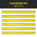 Yellow Measure Tape Vector. Measure Tool Equipment In Inches. Several Variants, Proportional Scaled. Royalty Free Stock Photo