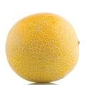 Yellow melon ripe on white reflective background Royalty Free Stock Image