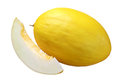 Yellow melon and a slice Royalty Free Stock Photo