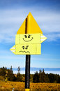 Yellow metal Road sign board.smile Royalty Free Stock Photo