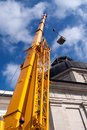 Yellow mobile crane boom Stock Photography