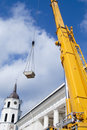 Yellow mobile crane boom Royalty Free Stock Image