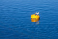 Yellow mooring buoy with hook on blue sea water floating Royalty Free Stock Image