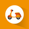 Yellow motorcycle delivery service transport