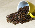 Yellow Mug filled with Coffee Beans Royalty Free Stock Photo