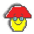 Yellow mushroom with red hat in pixel style with eyes and smile