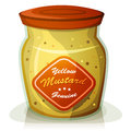 Yellow mustard pot illustration of a cartoon classic french from dijon in appetizing glass Royalty Free Stock Images
