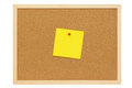 Yellow note leaflet on a pinboard of cork Royalty Free Stock Photo