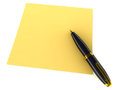 Yellow note paper black gold pen white background empty note your own text use as Stock Images