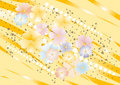Yellow nuance background with flowers. Background. Stock Images