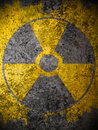Yellow nuclear warning symbol Royalty Free Stock Photos