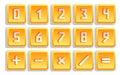 Yellow numeric button set isolated vector illustration Stock Photo