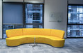 Yellow office sofa big modern design in Royalty Free Stock Image