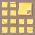 Yellow office sticky memory notes vector illustration sticker paper adhesive information memo blank.