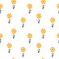 Yellow orange abstract daisy flowers seamless pattern background illustration vector Stock Image