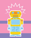 A yellow orange cyan retro robot Royalty Free Stock Photo