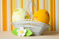 Yellow and orange easter eggs in a basket with white flower Royalty Free Stock Photos