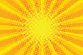 Yellow orange sun pop art retro rays background
