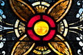Yellow Orb in Stained Glass Royalty Free Stock Photo