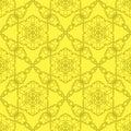 Yellow Ornamental Seamless Line Pattern