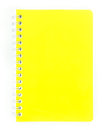 Yellow page of notbook on white background Stock Images