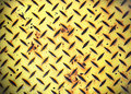Yellow Painted Diamond Checker Steel Plate Royalty Free Stock Photo