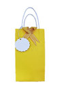 Yellow paper bag gift card white Stock Image