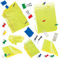 Yellow paper, note cards and supplies Stock Photography