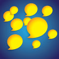 Yellow paper speech bubbles on blue gradient background graphic illustration Stock Image