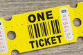 Yellow paper ticket Royalty Free Stock Photo