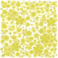 Yellow pattern with lined and colored flowers.