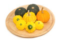 Yellow patty pan and pumpkin on the tray wooden Royalty Free Stock Photo