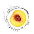 Yellow peach in water splash Royalty Free Stock Photo