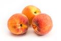 Yellow peaches isolated on white background Royalty Free Stock Photo